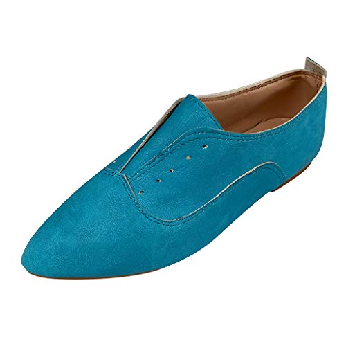 - Womens Shoes Lace-Up Loafer Flat Pointed Toe Single Shoe Oxfords Flats Leather Ankle Boot Blue