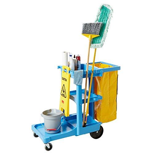 Rubbermaid Commercial Housekeeping 3 Shelf Cart with Zippered Yellow Vinyl Bag Black FG617388BLA