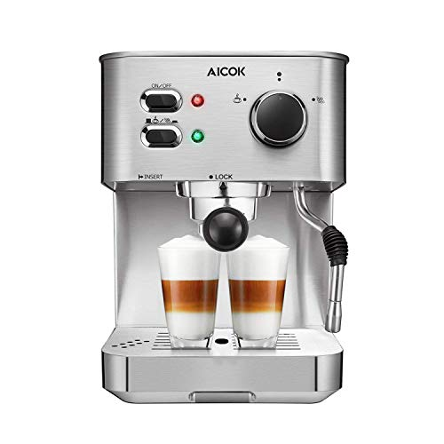 AICOK Espresso Machine, Cappuccino Coffee Maker with Milk Steamer Frother, 15 Bar Pump Latte and Moka Machine, Stainless…