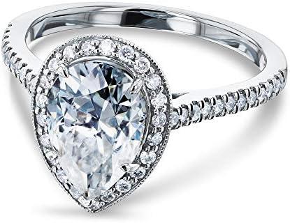 Kobelli Pear Shape Moissanite Halo Engagement Ring 2 1/2 CTW 14k White Gold