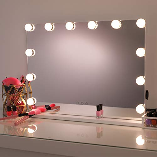 Hollywood Mirror Makeup Vanity Mirror with Lights,Professional Hollywood Style Smart Touch Design, Dimmable Bulbs in 3 Color Tone Modes, USB Charging Port, W 22.8″ x H 18.2″, White