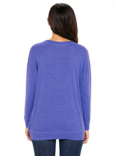 Tops Mode Pulls Marin Sweat Femmes Blouse Shirts Automne Unie Shirt Rond et Jumpers Chemisiers Manches Longues Casual Printemps Bleu Col Couleur T Hauts Shirts Fq8yapWIg