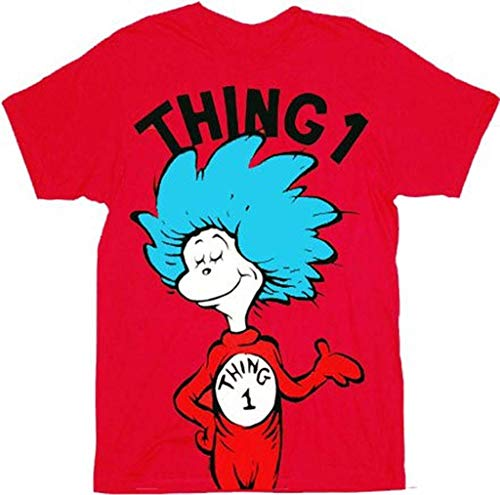 Dr. Seuss Thing 1 or Thing 2 Adult Red T-shirt (Adult X-Small, Thing 1)]()