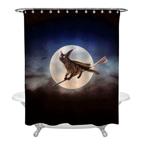 Halloween Witch Black Cat Flying in Night Sky