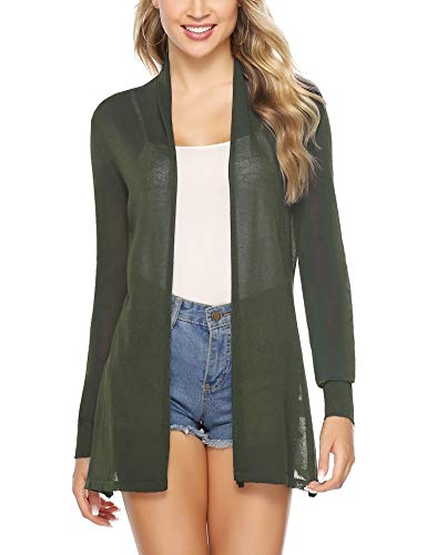 Abollria Womens Casual Long Sleeve Open Front Cardigan Sweater(Army Green,M)