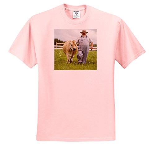3dRose Danita Delimont - Farmers - Prince Edward Island, Avonlea Village, Dairy farmer -CN09 DBR0158 - Dave Bartruff - T-Shirts - Adult Light-Pink-T-Shirt Large (Edward Light T-shirt)
