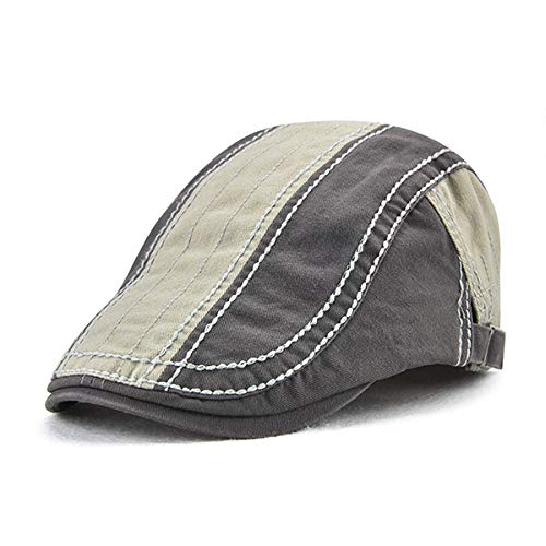 ACHKL Mens Stripes Cotton Patchwork Colors Beret Caps Outdoor Sport Adjustable Visor Forward Hats ACHKL (Color : Color Dark Grey, Size : One size)