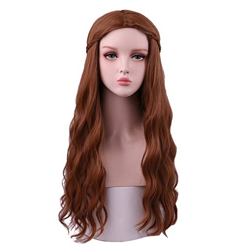 SinRain Women's Long Curly Brown Wig with Braid Halloween Cosplay Fluffy -