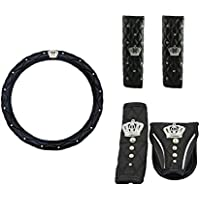 Sino Banyan VIP Style Crown Steering Wheel Cover Set,5 PCS,Black