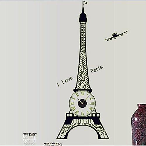 Toonol Eiffel Tower Fluorescent Luminous Wall Clock Sticker Home Decoration Glow Wall Decal Clock on the Wall Art Decorative Clock,30...  90cm clocks   Midnight Sun – 90cm against the clock 41mp0BqOvgL
