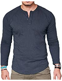 Slim Fit Crew Neck Long Sleeve Solid Color Button Henley T-Shirt Top