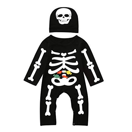 QUICATCH Baby Boys Girls Halloween Cloth Bone Candy Print Romper Jumpsuit+Hat Set Outfits(100,Black)]()