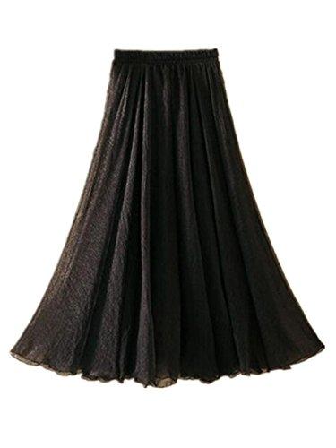 Aoliait Femme Jupe Longue ElGant Jupe Mousseline Couleur Unie Jupe A-Line Amincissante Femelle Jupe Plisse Taille Haute Jupe De Plage Swing Mode Jupe Black