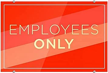 Employees Only Modern Diagonal Premium Brushed Aluminum Sign CGSignLab 5-Pack 27x18
