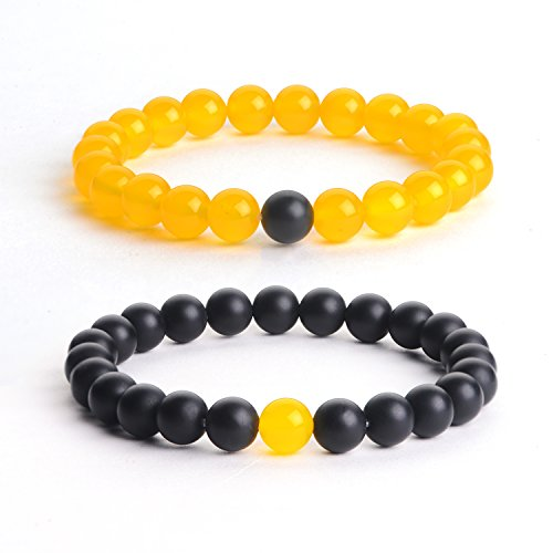 Agate Jewelry Set - iSTONE Distance Bracelets Black Matte Agate & Yellow Agate Energy Healing Stone Beads Bracelet Set Couple Jewelry