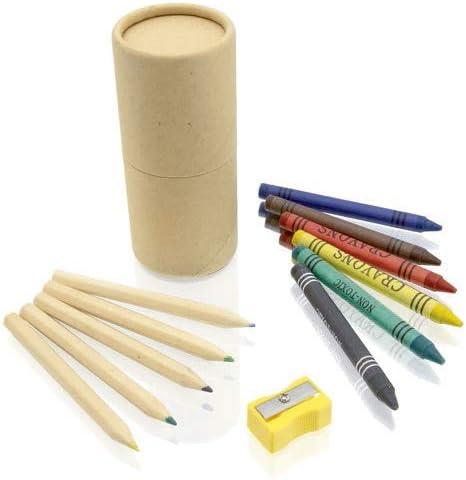 Lote de 10 Sets de 13 piezas en estuche cilíndrico de cartón natural. Incluye 6 lápices de madera, sacapuntas en color amarillo y 6 ceras en variada gama de vivos colores.Regalo original