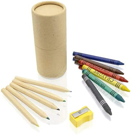 Lote de 10 Sets de 13 piezas en estuche cilíndrico de cartón natural. Incluye 6 lápices