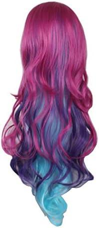WIGXDYP Peluca de pelo largo con flecos laterales, color rojo ...
