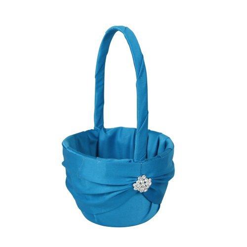 Ivy Lane Design Garbo Collection Flower Girl Basket for Weddings, Turquoise Blue by Ivy Lane Design B01IE7IPS4