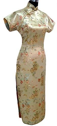 CK sky Women's Chinese Satin Long Cheong-sam Qipao Evening Dress 5X-Large Gold