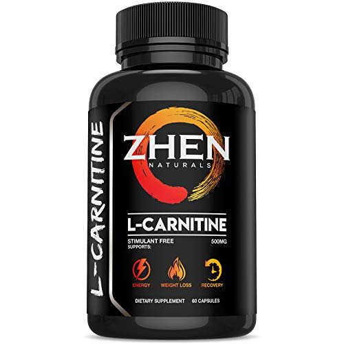 Zhen Naturals Premium L-Carnitine L-Tartrate 500mg Performance Supplement Supports Energy, Weight Loss & Muscle Recovery - Stimulant Free - 60 Capsules