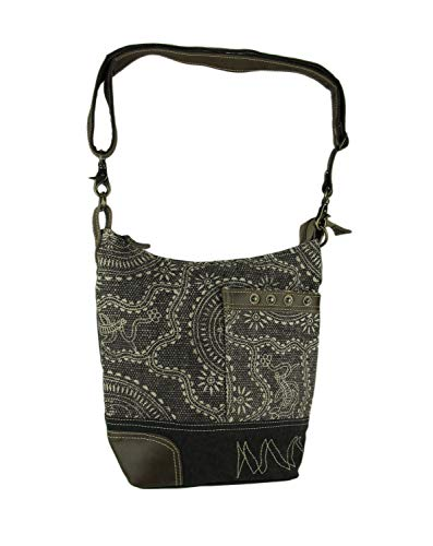 Myra Bag Vintage Carved Upcycled Canvas Shoulder Bag - Materials Recycled