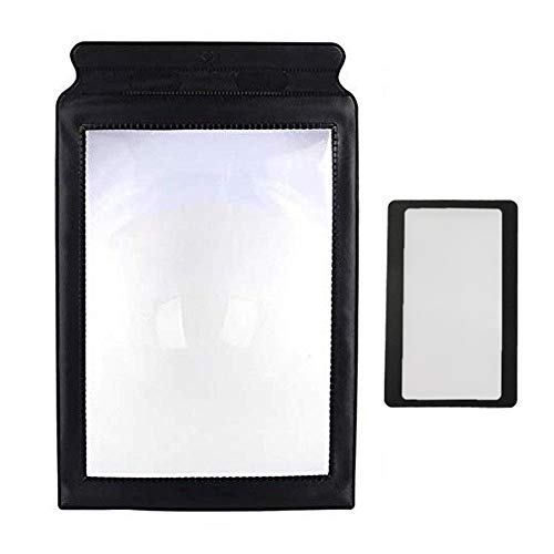 A4 Full Page Handheld Magnifier Magnifying Glass with Handle for Reading Close Work 3-5X Large Wide Horizontal