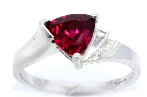 Created Ruby & Diamond Trillion Ring .925 Sterling Silver Rhodium Finish