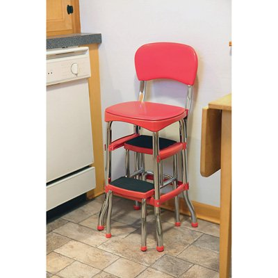 Cosco 11120RED1E Retro Counter Chair/Step Stool, Red, used for sale  Delivered anywhere in USA