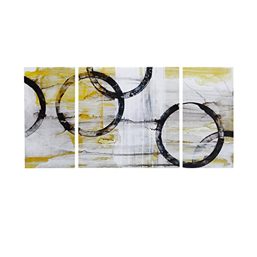 Madison Park Lunar Glow Abstract White Black Canvas Wall Art 30X30 2 Piece Multi Panel, Contemporary Modern Wall Décor