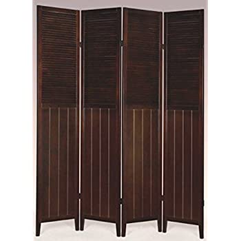 Wood Shutter Door 4-Panel Room Divider WHITE /ESPRESSO (ESPRESSO)  sc 1 st  Amazon.com & Amazon.com: Shutter Door 3-Panel Room Divider: Kitchen u0026 Dining pezcame.com