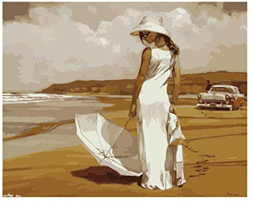 BHHCR Paint by Numbers Digital Painting DIY Paint Drawing On Canvas Hand Painted Picture Beautiful Woman by The Sea(40X50Cm Frameless)