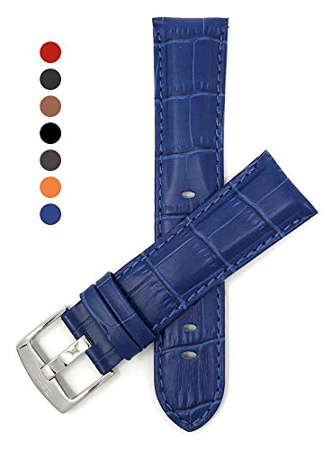 22mm Royal Blue Mens' Alligator Style Genuine Leather Watch Strap Band