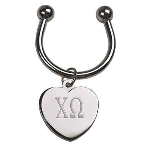 Chi Omega Chi O Silver Heart Keyring
