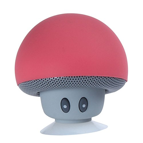 A-szcxtop Waterproof Mini Portable Wireless Bluetooth Speaker Stereo Mushroom Suction Cup with Hand Free Red