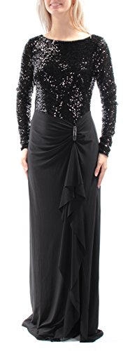 Lauren Long Sleeve Jersey - RALPH LAUREN Lauren Black Sequined Top Long Sleeves Jersey Gown
