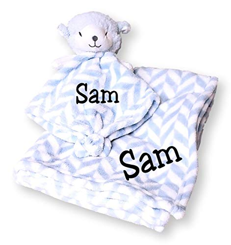 Baby Blanket (30 x 40 inch) with Lamb Lovey Security Blanket (Blue Chevron Lamb with Embroidered Name)