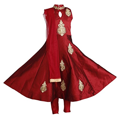 Ashwini Girls Tapeta Red Salwar,Red,9-10 Years