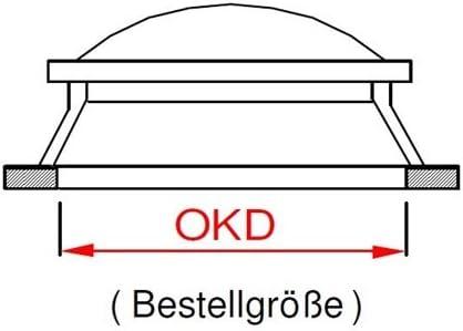 Lichtkuppel 800x800 milchig doppelschalig D/ämmung 3,1 W//m/²K mit Kranz 150 mm H/öhe
