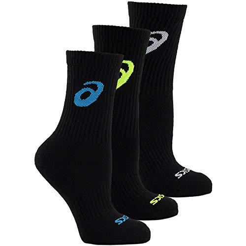 ASICS Contend Crew Socks, Black Assorted, Small
