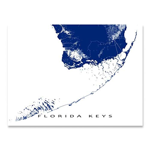 Florida Keys Map Print, Key West, Key Largo, USA Art - Plantation Key