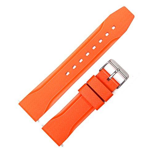 Marathon WW005015OR Divers Model Rubber Watch Band/Strap. Made in Italy (22 mm, Orange) - Orange Rubber Strap