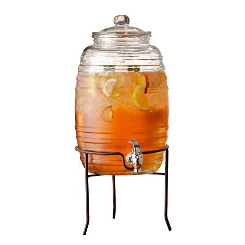 Style Setter Colfax 210323-GB 2.5 Gallon Glass Beverage Drink Dispenser with Metal Stand & Glass Lid, 10x17