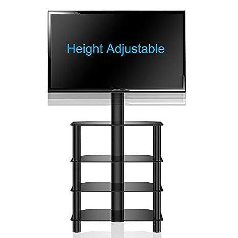 Per TV a schema da 32 a 50 pollici con Staffa Girevole FITUEYES Supporto TV Portata Max 40kg Supporto porta TV TW406001MB 4 Ripiani in Vetro