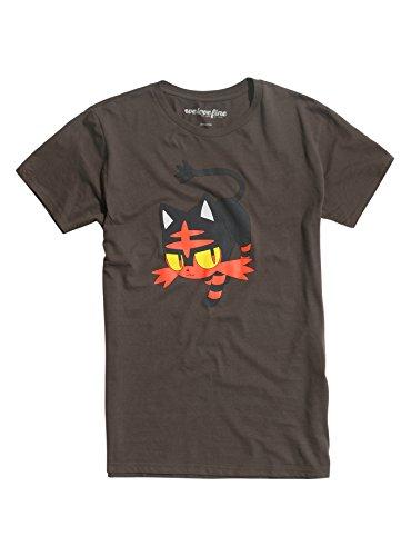 Pokemon Sun and Moon Litten Mens Grey T-Shirt (X-Large)