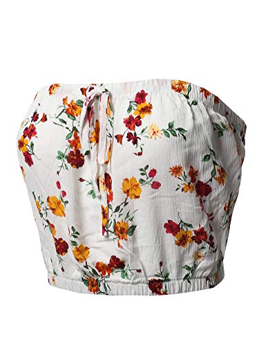 Awesome21 Casual Printed Drawstring Detail Tube Top White Floral M