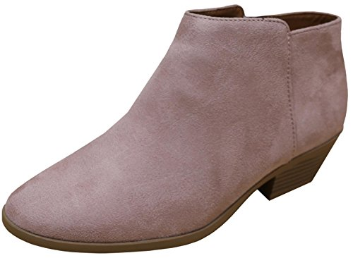 Cambridge Select Women's Closed Round Toe Stacked Heel Western Ankle Bootie,10 B(M) US,Dusty Mauve - Chelsea Pink