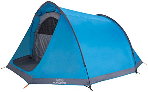 Vango Waterproof Voyager 400 Unisex Outdoor Tunnel Tent available in Blue -...