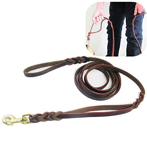 Genuine Leather Leash Dual Handle