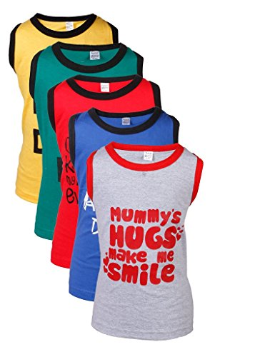 GOODWAY Junior Boys Pack of 5 Mom & Dad Printed Vest T-Shirts Theme-1